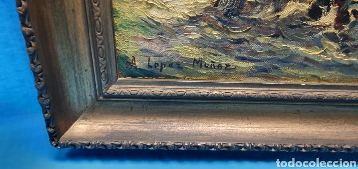 Arte: Preciosa y antigua marina en oleo sobre lienzo por a. Lopez Muñoz 66.5 x 55.5 cm contando el marco - Foto 5 - 178818292