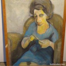 Arte: GRAN OLEO SOBRE TELA DE JORDI MARAGALL I MIRA(BCN 1936).ABUELA COSIENDO.. Lote 178828142