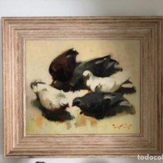 Arte: FRANCISCO TORRES MATAS . PALOMAS . ÓLEO SOBRE TABLA . 1976 MEDIDAS 60 X 50 CM . . Lote 178240367