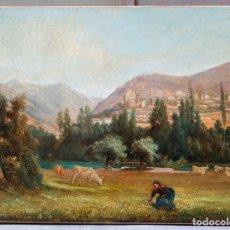 Arte: IU PASCUAL (1883 - 1949), PAISAJE, PUEBLO, CAMPESINA, PINTURA AL ÓLEO SOBRE TELA, FIRMADO. 68X51CM. Lote 178939245