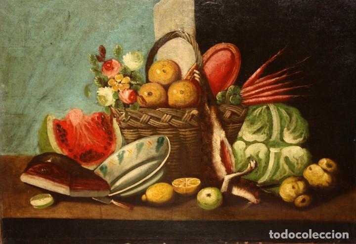 ESCUELA ESPAÑOLA DEL SIGLO XVIII. OLEO SOBRE TELA DE AUTOR ANONIMO. BODEGON (Arte - Pintura - Pintura al Óleo Antigua siglo XVIII)