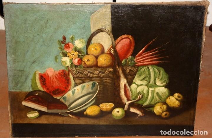 Arte: ESCUELA ESPAÑOLA DEL SIGLO XVIII. OLEO SOBRE TELA DE AUTOR ANONIMO. BODEGON - Foto 2 - 178951057