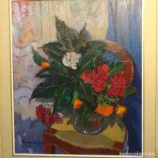 "Art: GRAN ÓLEO SOBRE TELA DE CARMEN ESPEL(BCN 1926)""FULLES DE MAGNOLIAS"".BIEN ENMARCADO.ESCUELA SANVISENS. Lote 178988937"