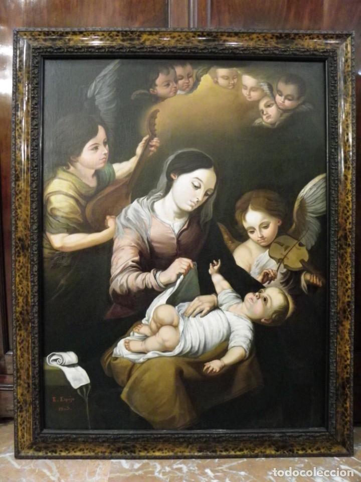 Arte: Virgen de la Faja, copia de Murillo antigua - Foto 2 - 179010072