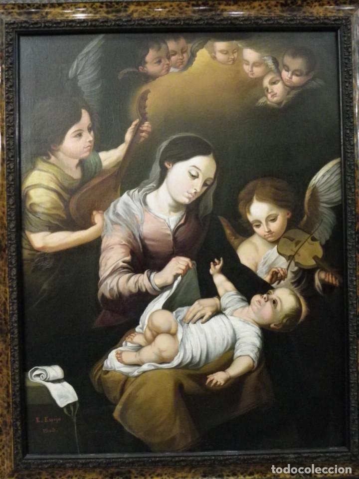 Arte: Virgen de la Faja, copia de Murillo antigua - Foto 3 - 179010072