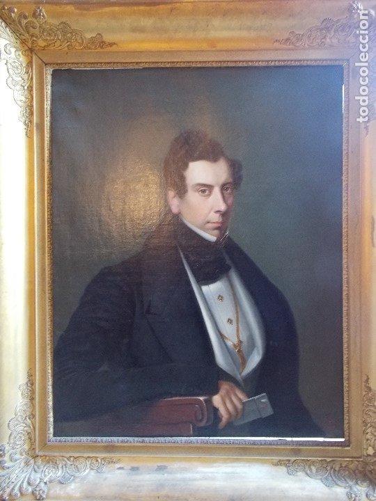 Arte: ANTIGUA PAREJA OLEO SOBRE LIENZO RETRATO DAMA Y CABALLERO SIGLO XIX - Foto 2 - 179018988