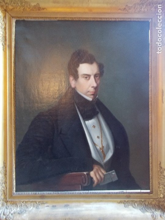 Arte: ANTIGUA PAREJA OLEO SOBRE LIENZO RETRATO DAMA Y CABALLERO SIGLO XIX - Foto 5 - 179018988