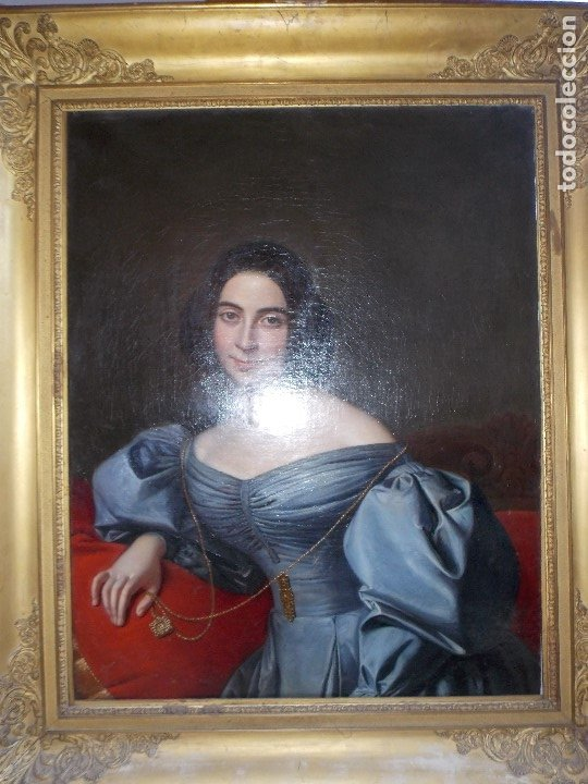Arte: ANTIGUA PAREJA OLEO SOBRE LIENZO RETRATO DAMA Y CABALLERO SIGLO XIX - Foto 15 - 179018988