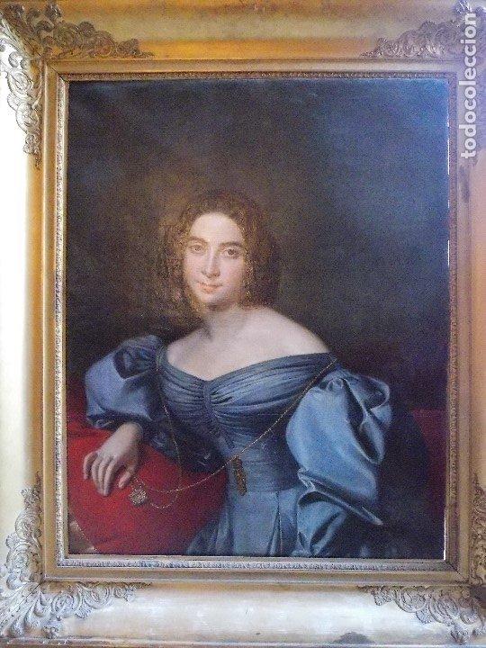 Arte: ANTIGUA PAREJA OLEO SOBRE LIENZO RETRATO DAMA Y CABALLERO SIGLO XIX - Foto 3 - 179018988