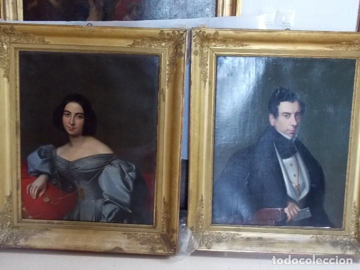 Arte: ANTIGUA PAREJA OLEO SOBRE LIENZO RETRATO DAMA Y CABALLERO SIGLO XIX - Foto 24 - 179018988