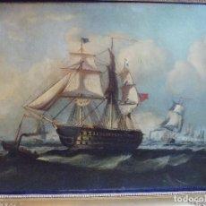 Arte: ANTIGUO OLEO SOBRE LIENZO MARINA INGLESA SIGLO XVIII. Lote 179019686