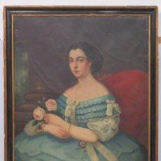Arte: RETRATO DE MUJER CON RAMO Y JOYAS. ESCUELA ESPAÑOLA. HACIA 1850. Lote 179045081