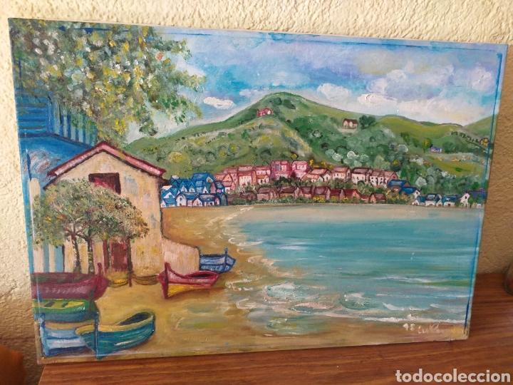 CUADRO PINTADO MAR CASAS Y MONTAÑA (Arte - Pintura Directa del Autor)