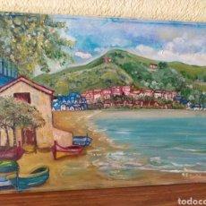 Arte: CUADRO PINTADO MAR CASAS Y MONTAÑA. Lote 179084227