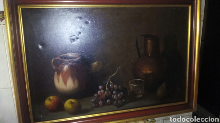 Arte: Cuadro oleo sobre lienzo,Bodegon,Firmado - Foto 2 - 179104510