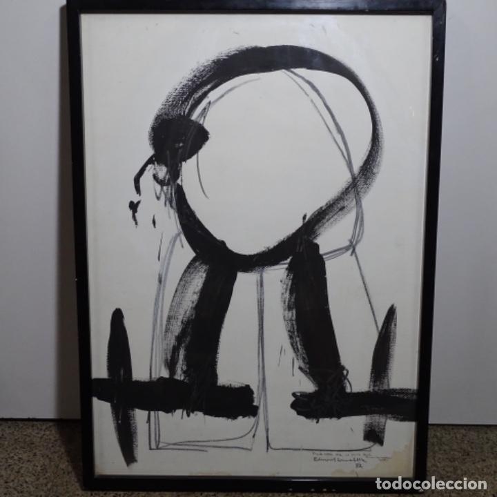 GRAN DIBUJO A LA TINTA(ÓLEO) DE EDUARD COMABELLA DE 1982.DEDICADO. (Arte - Pintura - Pintura al Óleo Contemporánea )