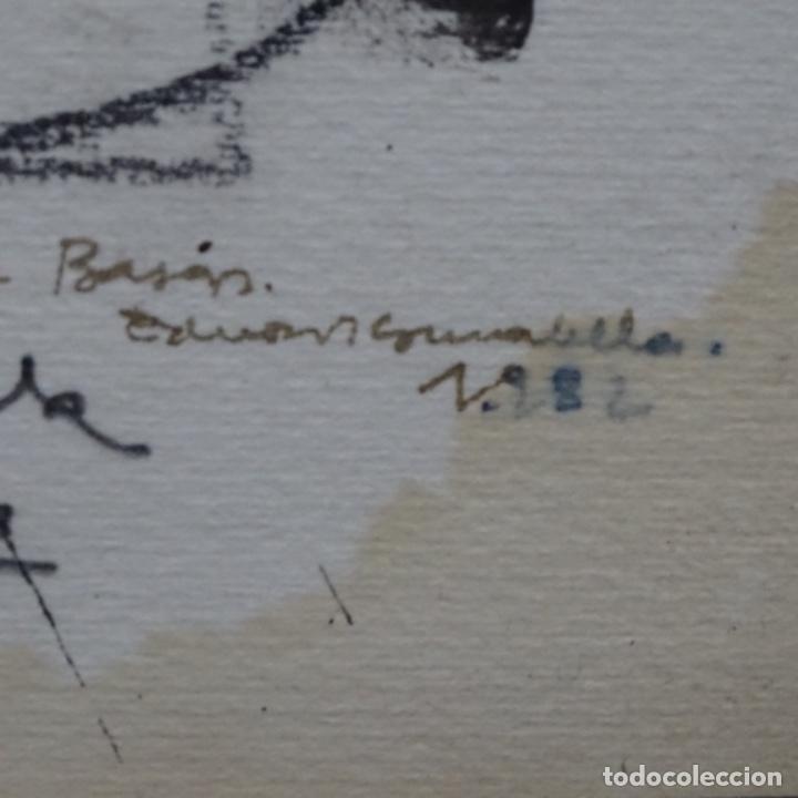 Arte: Gran dibujo a la tinta(óleo) de Eduard comabella de 1982.dedicado. - Foto 11 - 179115848