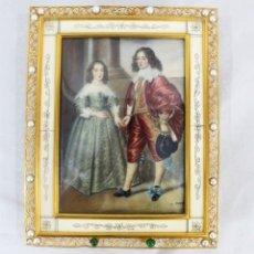 Arte: PINTURA SOBRE MARFIL PRINZ WILHELM II VON ORANIEN & MARIA HENRIETTA STUART - MARCO MARFIL Y ORMULU. Lote 178769343