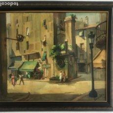Arte: RAMÓN BARNADAS FABREGAS (OLOT, GERONA, 1909 - 1981) OLEO SOBRE LIENZO 1950'S.. Lote 179127791