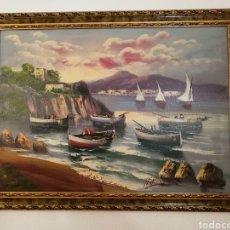 Arte: CUADRO OLEO PESCADORES, PUERTO, BARCAS. Lote 179151812