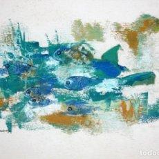 Arte: FERNANDO MADURGA (ZARAGOZA, S. XX) OLEO SOBRE PAPEL. COMPOSICION CON PECES. Lote 179158660