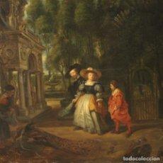 Arte: PINTURA FLAMENCA DE PAISAJE CON PERSONAJES DEL SIGLO XIX. Lote 179170242