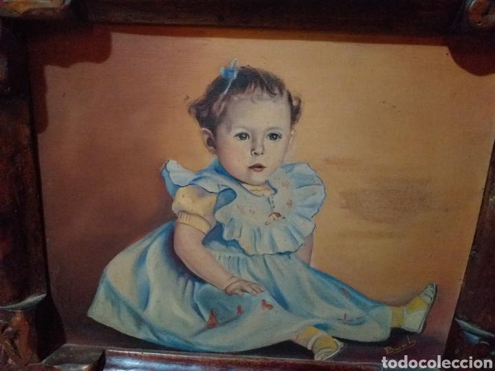 Arte: BONITO CUADRO NIÑA ,MARCO TALLADO CREO - Foto 7 - 179190566