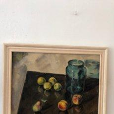 Arte: EL POT DE VIDRE VERT, PINTURA AL ÓLEO SOBRE TELA, 55 X 46 CM. Lote 179235630