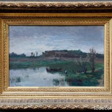 Arte: ENRIC GALWEY (1861 -1931), PAISAJE, LAGO Y BARCA, PINTURA AL ÓLEO SOBRE TABLA, CON MARCO. 32X20,5CM. Lote 179238766
