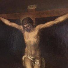 Arte: EXCEPCIONAL OLEO CRUCIFICADO. CALIDAD. FIRMADO 1878. Lote 179239573
