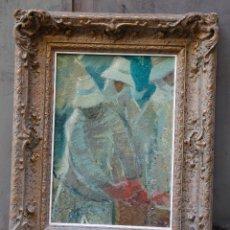 Arte: FRANCESC OLIVER FRADERA, VENDEDORAS DE TOMATES, LANZAROTE, PINTURA AL ÓLEO SOBRE TELA, CON MARCO.. Lote 179242512