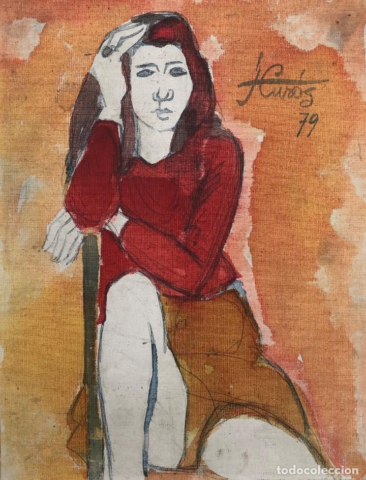 JORDI CURÓS VENTURA (1930-2007) - FIGURA FEMENINA MUJER (Arte - Pintura - Pintura al Óleo Contemporánea )