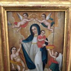Arte: EXCEPCIONAL COBRE COLONIAL LA VIRGEN CON EL NIÑO. Lote 179322683