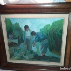 Arte: BELICISMO OLEO SOBRE TABLA COMPRA AL CAMPESINO BELLO MARCO DE MADERA FIRMADO F. ORTIZ. Lote 179335883