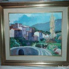 Arte: BELLO CUADRO OLEO SOBRE LIENZO PUEBLO FIRMADO ENMARCADO. Lote 179339770