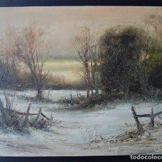 Arte: PAISAJE NEVADO: IMPRESIONISMO - EXPRESIONISMO. Lote 179379623