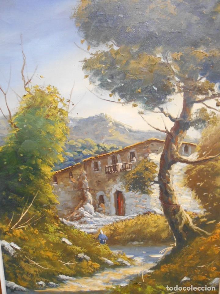 PINTURA AL OLEO SOBRE TELA - PAISAJE RURAL - FIRMADO DOMENECH - (Arte - Pintura - Pintura al Óleo Contemporánea )