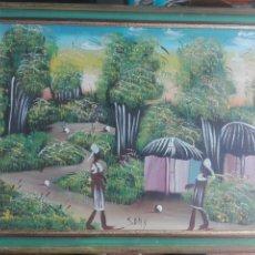 Arte: PINTURA NAIF AL ÓLEO FIRMADA POR SONY MEDIDAS 45 X 35. Lote 179694216