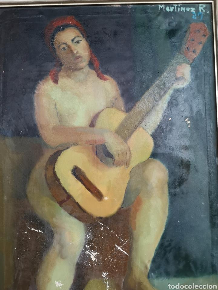 Arte: Martinez R. Oleo firmado y fechado, 1927. Medidas enmarcado. 79x129cm. Necesita restauración - Foto 3 - 180012865