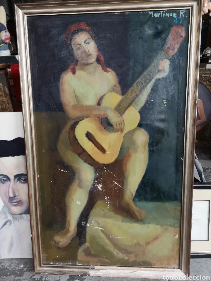 MARTINEZ R. OLEO FIRMADO Y FECHADO, 1927. MEDIDAS ENMARCADO. 79X129CM. NECESITA RESTAURACIÓN (Arte - Pintura - Pintura al Óleo Contemporánea )