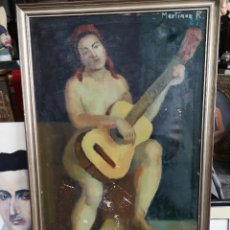 Arte: MARTINEZ R. OLEO FIRMADO Y FECHADO, 1927. MEDIDAS ENMARCADO. 79X129CM. NECESITA RESTAURACIÓN. Lote 180012865