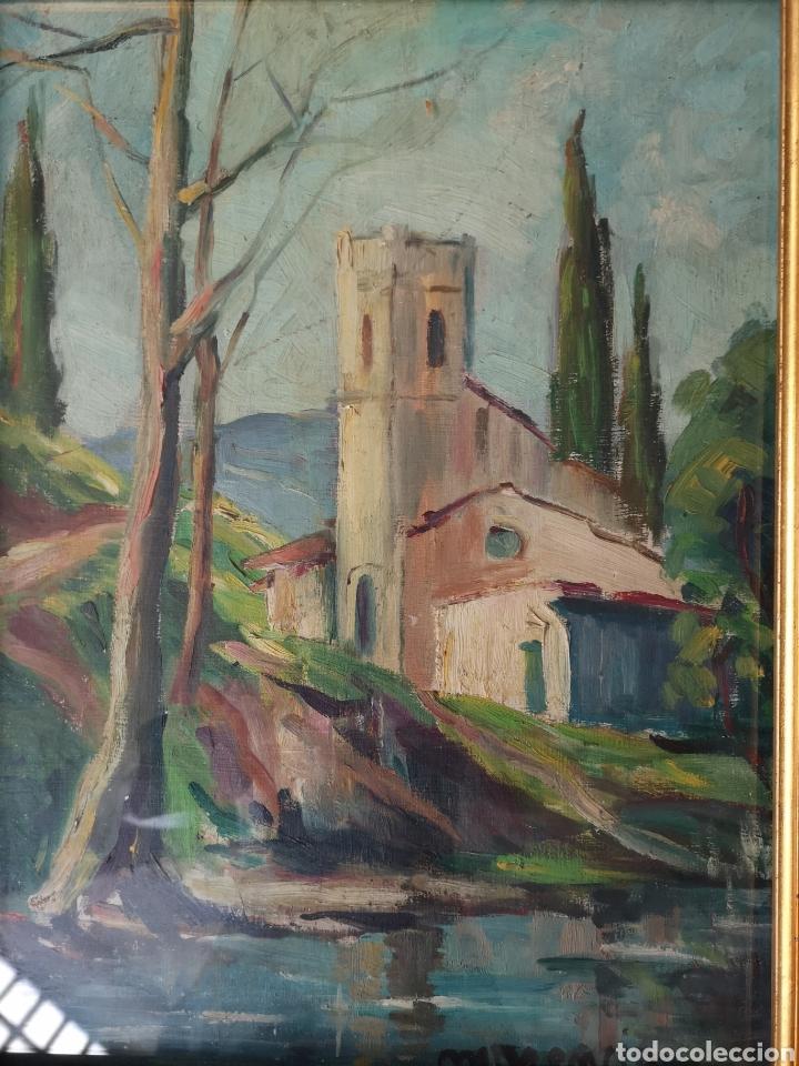 Arte: Escuela catalana, firmado Morencio? Vallvidrera, oleo sobre tabla, enmarcado y con cristal. 40x50cm - Foto 2 - 180013772
