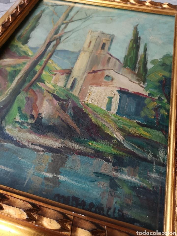 Arte: Escuela catalana, firmado Morencio? Vallvidrera, oleo sobre tabla, enmarcado y con cristal. 40x50cm - Foto 3 - 180013772