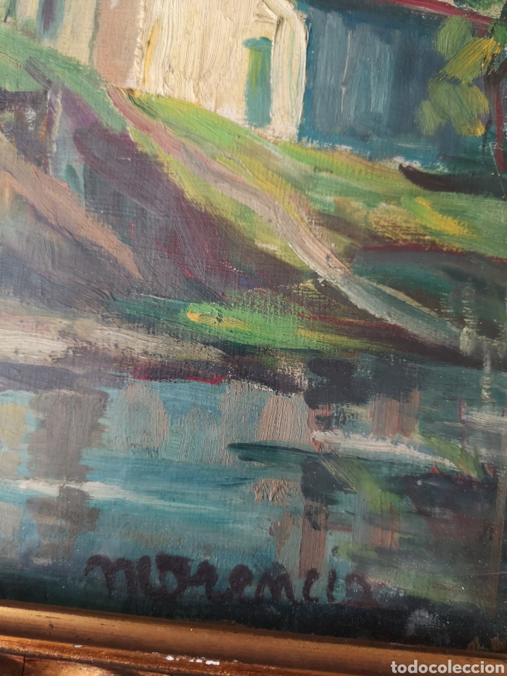 Arte: Escuela catalana, firmado Morencio? Vallvidrera, oleo sobre tabla, enmarcado y con cristal. 40x50cm - Foto 4 - 180013772