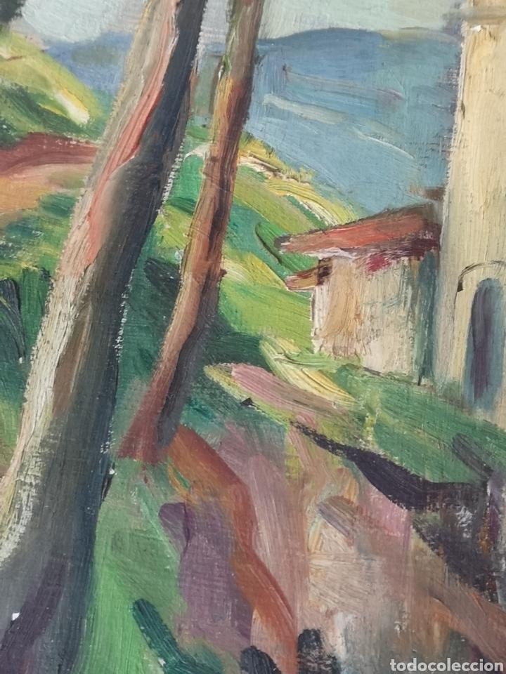 Arte: Escuela catalana, firmado Morencio? Vallvidrera, oleo sobre tabla, enmarcado y con cristal. 40x50cm - Foto 5 - 180013772