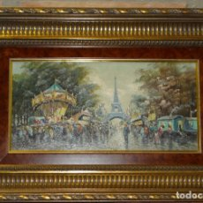 Arte: CUADRO OLEO SOBRE LIENZO FERIA EN PARIS CON LA TORRE EIFFEL. FIRMA DEL AUTOR.. Lote 180026356