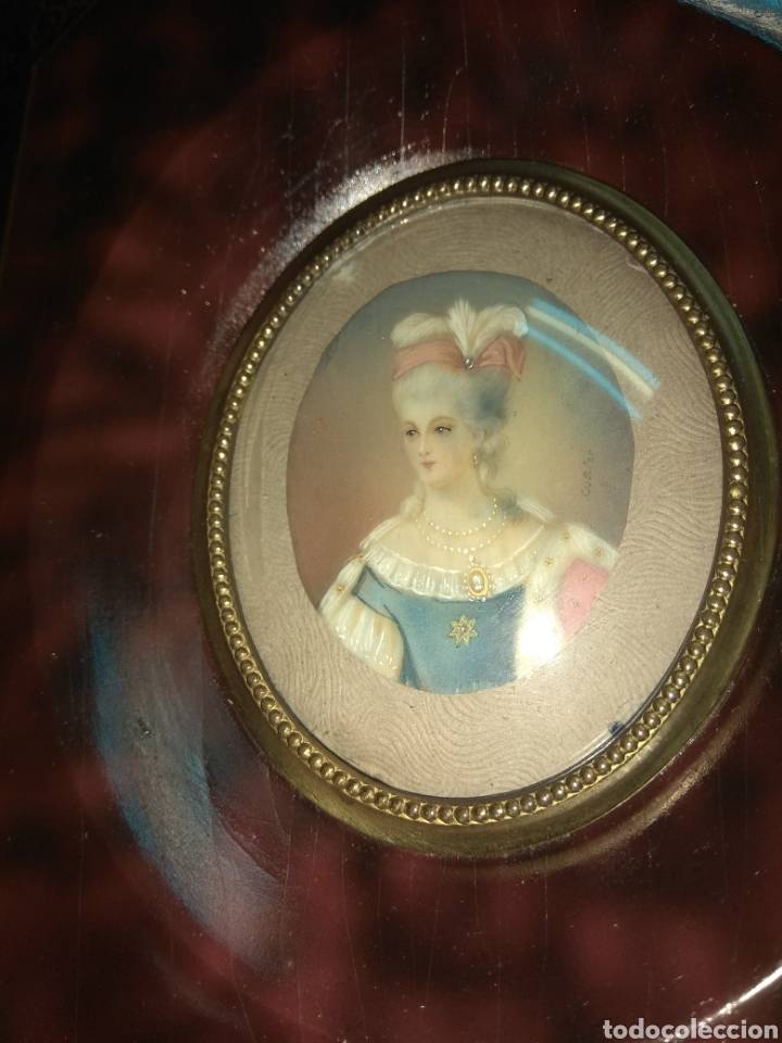 Arte: Miniatura Dama Pintura sobre Marfil - Firmado - - Foto 4 - 180036065