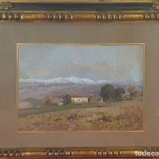 Arte: PAISAJE DE OLOT. ÓLEO SOBRE TABLA. JOSE BERGA BOIX. ENERO DE 1902. . Lote 180085211
