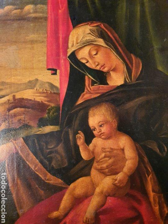 Arte: virgen con San Juan y niño. 30cmx30cm - Foto 2 - 180094473
