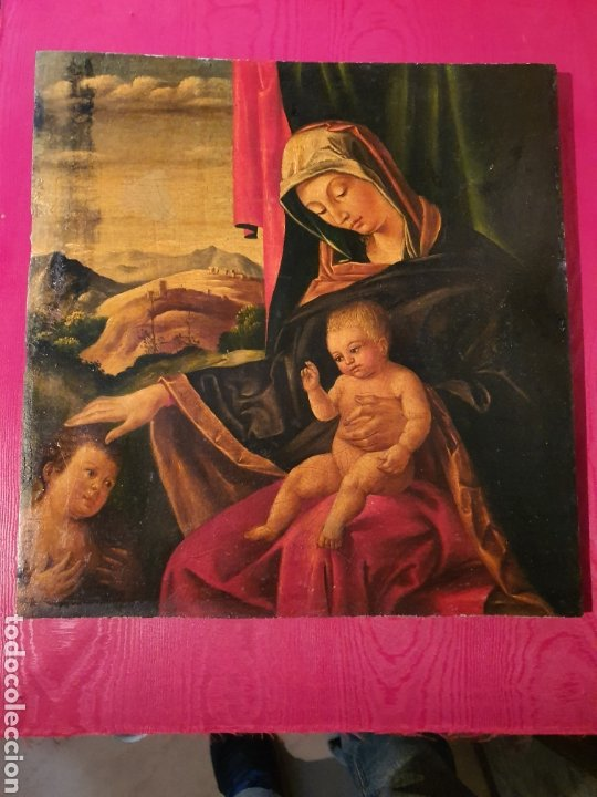 VIRGEN CON SAN JUAN Y NIÑO. 30CMX30CM (Arte - Pintura - Pintura al Óleo Antigua siglo XVIII)